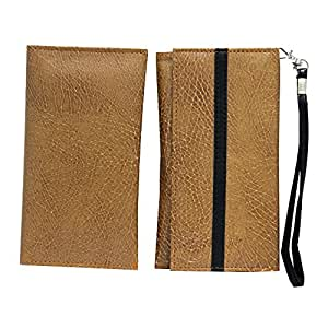 Jo Jo A5 S Series Leather Wallet Universal Pouch Cover Case For Spice M 6800 FLO Tan Black