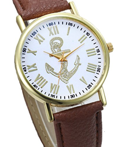 Armbanduhr mit Anker - Edelstahl vergoldet mit weichem Lederarmband