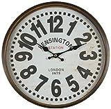 Reloj de pared de metal con panel de vidrio. Diseño vintage Kensington lacado...