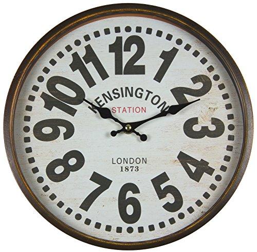 perla pd design Metall Wanduhr mit Glasscheibe Vintage Design Kensington hellbraun lackiert ca. Ø 30 cm