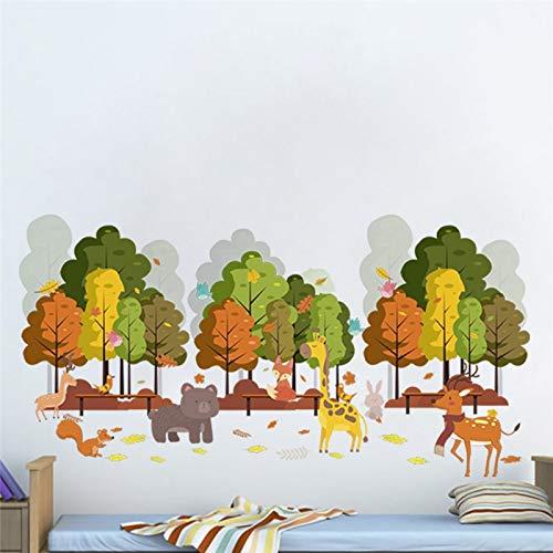 Wall Sticker ZOZOSO Bosque Árbol Animales Hirsche Jirafa Fox Conejo Selva Salvaje Adhesivos Para Niños Habitaciones Baumschule Decoración Par El Hogar Dormitorio Cartel Mural