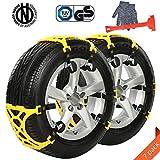 Ninonly 7Pcs Catene da Neve Facile da installare Catene da Neve Antiscivolo, per Vetture, Modelli off-Road, SUV, Gomme Auto Tire Larghezza 165mm - 285mm