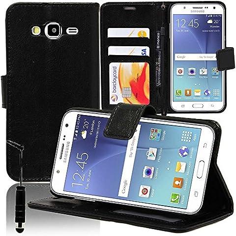 Samsung Galaxy J5 SM-J500F Étui HCN PHONE® Housse Portefeuille Etui Clapet Folio Livre Rabat Support Intégré pour Samsung Galaxy J5 SM-J500F + mini stylet - NOIR
