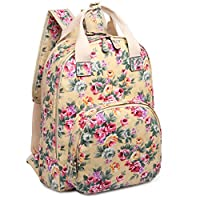 Kono Women Girls Oilcloth Flower Print Backpack Leisure Travel School Daypack Fashion Rucksack