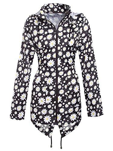Instagram Clothing Ladies Floral Daisy Print Hooded Rain Mac Jacket