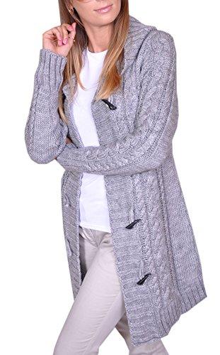 damen-strick-jacke-mantel-pullover-neu-2-farben-mit-kapuze-s-grau