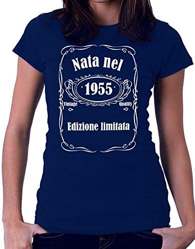 Tshirt compleanno Nata nel 1955 - edizione limitata - vintage quality - idea regalo - eventi - - Tutte le taglie Blu