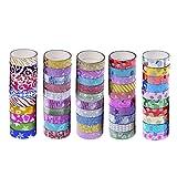 FXCO 10 x Glitter Washi Tape Masking DIY Sammelalbum Dekorative Papier Aufkleber