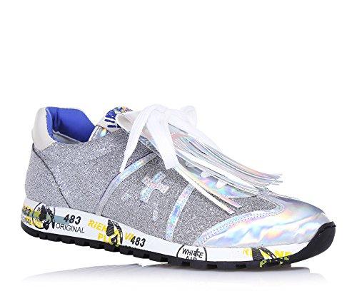 PREMIATA PREMIATA - Silberner Schuh mit Schnürsenkeln, aus Glanzleder und Glitzern, mit weißen Schnürsenkeln, Silberne Franse, mit Einer bedruckten Zwischensohle, Mädchen, Damen-30