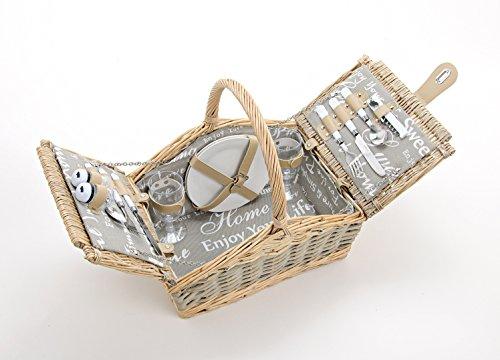 Picknickkorb Für 2 Personen - 14 tlg. Set - aus Weide Gelfochten mit Deckel, Keramik Geschirr, Besteck und Wein-Gläsern