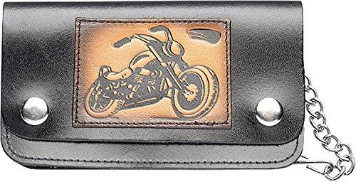 SunnyTrade24 Geldbeutel Wallet Chopper - Kassierer Biker Geldbeutel - echtes Leder mit Metall Kette und Karabiner für den Gürtel -