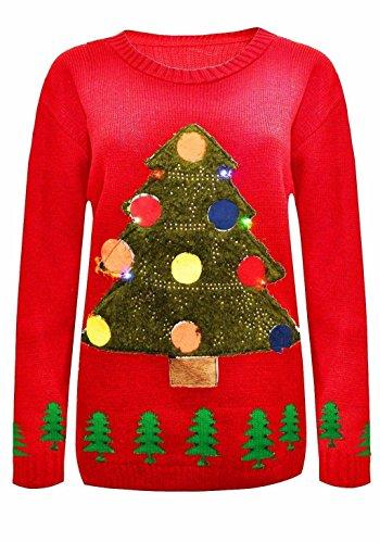 Unisex Damen Herren Damen gestrickte Weihnachtspullover Rudolph-Ren-Weihnachtsbaum leuchten LED-Strickwaren-Neuheit Pullover-Rund halsausschnitt Langarm Casual Fit Größe 36 38 40 42 44 46