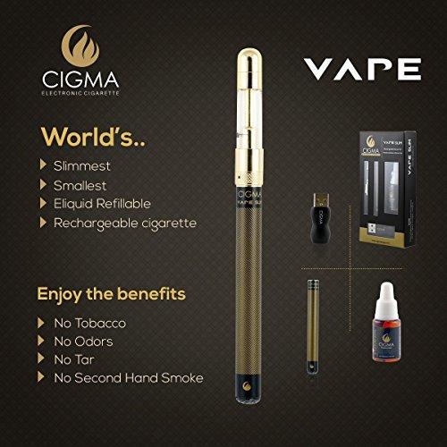 Cigma Vape Slim Schwarz inkl. 10ml Tobacco Liquid | Weltweit kleinste nachfüllbare wiederaufladbare E Zigaretten Starter Kit | E Shisha | Wiederaufladbare Batterie | Nikotinfrei
