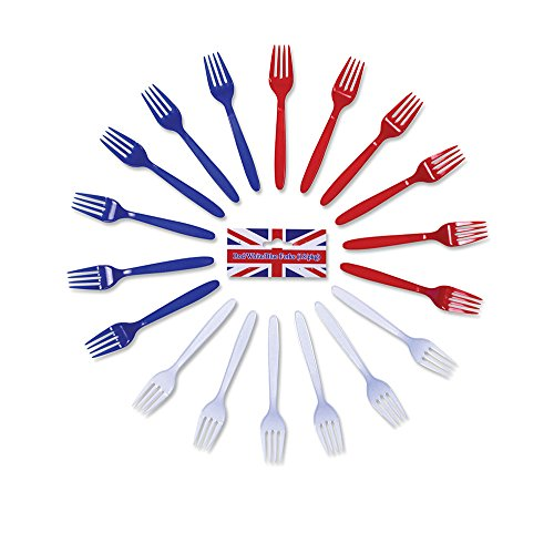 Red/White/Blue Forks USA UK FRANCE Disposable Party Cutlery Tableware