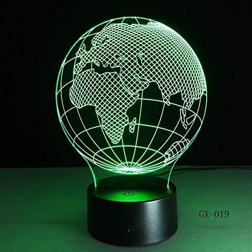 New 3D Illusion Light Mapa 3D Ia lámpara Led Night