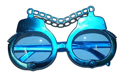Halloweenia - Kostüm Brille - Handschellen Rap Hip Hop Hipster Swat Fancy Music Party, Blau