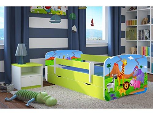Preisvergleich Produktbild Kocot Kids Kinderbett Jugendbett 70x140 80x160 80x180 Grün mit Rausfallschutz Matratze Schubalde und Lattenrost Kinderbetten für Mädchen und Junge - Safari 180 cm