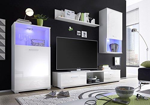 Avanti trendstore - lucy - parete da soggiorno in bianco / bianco splendente d'imitazione con luci led comprese, ca. 230x190x40 cm