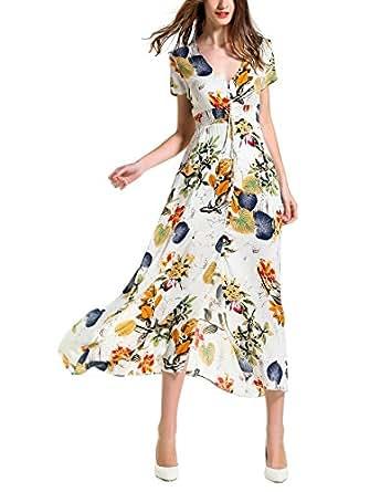 KUONUO Sommerkleider Damen Elegant Strandkleid Blumen Boho ...