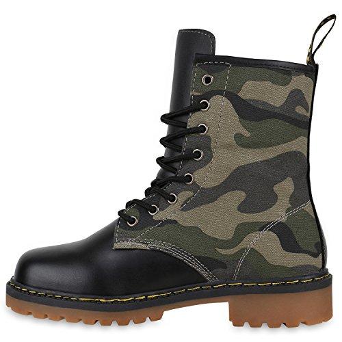 Stiefelparadies Damen Herren Kinder Unisex Stiefeletten Worker Boots Flandell Camouflage