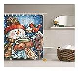 Gnzoe Polyester Bad Vorhang Schneemann Muster Design Badewanne Vorhang Bunt für Badezimmer/Badewanne 180x180CM