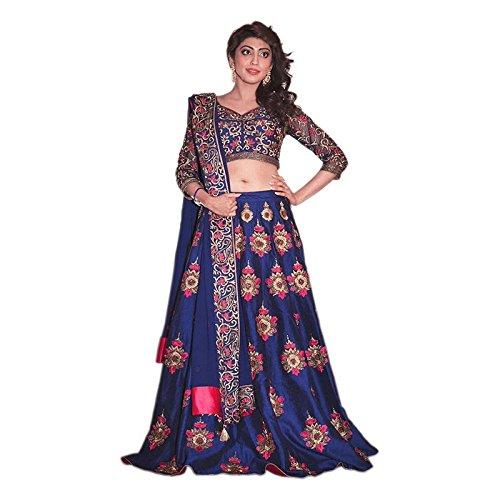 Ethnic Wings Women Velvet Anarkali Semi-Stitched Lehenga Choli (Ethnic M_ER10623_Blue_Free Size)