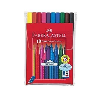Faber-Castell – Estuche con rotuladores grip de punta fina con forma triangular