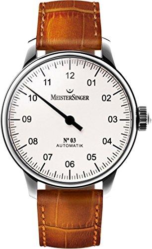 Meistersinger AM901 - Reloj automático para Hombre (Esfera Blanca, analógico, con Cristal de Zafiro, Correa de Piel marrón, Hecho en Suizo, Reloj clásico