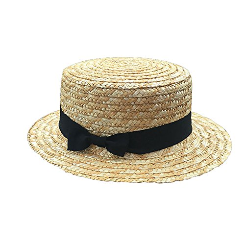 Kentop Damen Strohhut Zylinderhut Kreissäge Sunscreen Sonnenhut Mädchen Sommer Runde Flat Top Brim Strand Hut (Kinder)
