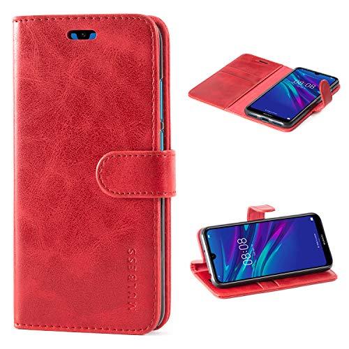 Mulbess Handyhülle für Huawei Y6 2019 Hülle, Leder Flip Case Schutzhülle für Huawei Y6 2019 / Honor 8A Tasche, Wein Rot