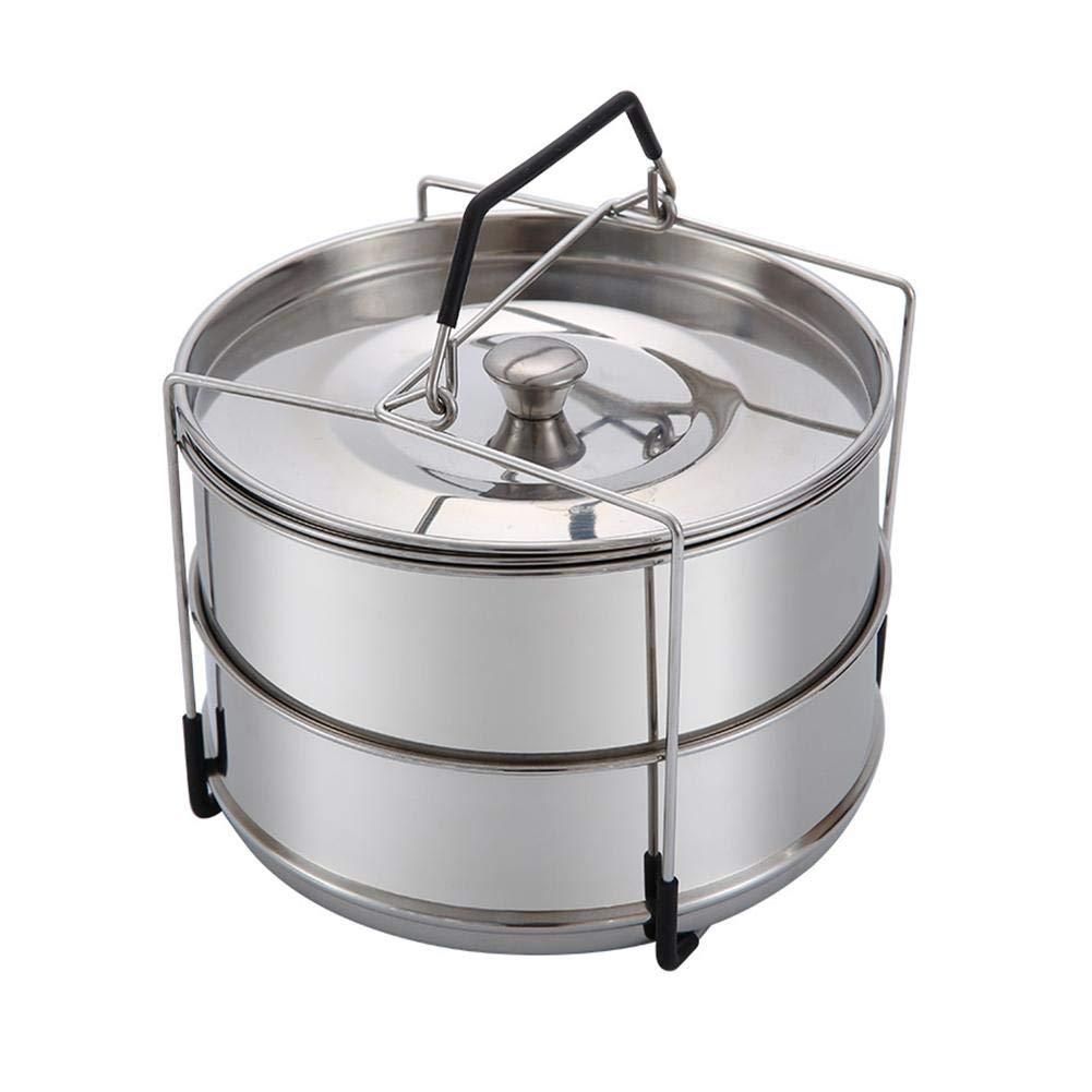 pictury pentola per cottura a vapore in acciaio inox 304 impilabile pentole a pressione a 2 piani cottura a vapore di verdure a vapore cestini cestello per