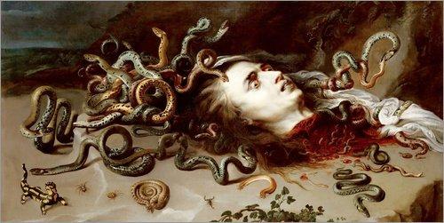 Alu Dibond 120 x 60 cm: Kopf der Medusa von Peter Paul Rubens (Peter Allen Kostümen)