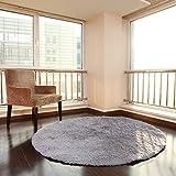 XNNSH 32 Pollici di Lusso Area Rotonda tappeti Super Soft Soggiorno Camera da Letto Tappeto Donna Yoga Mat,Gray,L