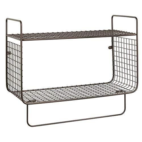NACY Badezimmer Regal - 2-Tier-Draht-Regal mit integriertem Handtuchhalter - Ideal Badezimmer-Speicherlösung Geeignet für Küche (Bronze) -