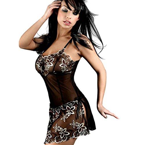MEIbax Clearance Frauen-reizvolle Spitze-Wäsche-Unterwäsche-Korsett-Druck-Nachtwäsche-Pyjama-Kleid (6XL, Schwarz)