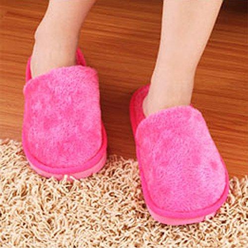 BOZEVON Hiver Chaud Pantoufles Peluche Chaussons Hommes & Femmes Coton Confortable Chaussures Rose (Femme)