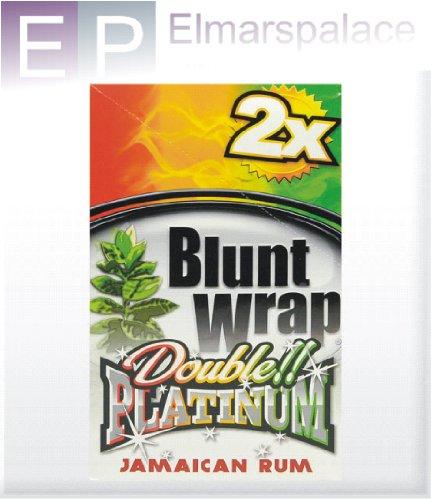 Blunt Wrap Double Platinum - Scatola doppia con 25 confezioni (50 in totale) di tabacco per sigari al rum   giamaicano