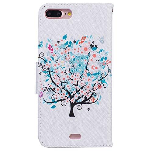 """MOONCASE iPhone 7 Plus Coque, [Don't Touch My Phone] Modèle Housse Pochette en Cuir Etui à rabat portefeuille [Porte-cartes] TPU Case avec Béquille pour Apple iPhone 7 Plus 5.5"""" Tree"""
