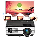 Proiettore Wi-Fi Android Proiettore Mini Video LCD Proiettore Home Cinema da 1500 Lumen Portatile Airplay Miracast Supporto HD 1080p HDMI USB VGA AV Per iPhone Tablet Laptop Lettore DVD Giochi(Manuale inglese, spina britannica)