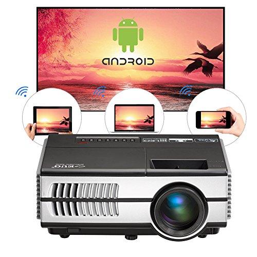 Mini WiFi LCD proyector Android 4,4, HD 1080p apoyo 1500 lumen casa Teatro LED proyector portatil Airplay Miracast inalambrico para iPad Tablet smartphone, al aire libre/entretenimiento de interior(Enchufes estándar ingleses Inglés Manual)