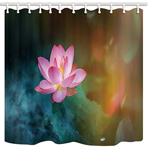 Wasserpflanze Vorhang für die Dusche von Sommer Lotus in Teich Kunst Druck Badezimmer Polyester-Schimmelresistent-Wasserdicht Duschvorhang Set mit Haken 180x 180cm - Rod Druck-vorhang Runde