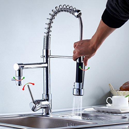 Auralum® Chrom Küchearmatur Moderne Design Waschtisch Spüle Armatur Mischbatterie Wasserhahn