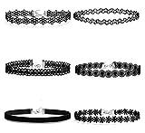 Aooaz Spitze Choker 6 Stück Halskette Schwarz Damen Velvet Halskette Stretch Tassel Ketten Tattoo
