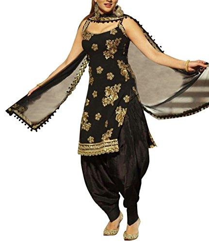 Spangel Fashion Women\'s Black Unstitched Patiyala Salwar Suits/Patiala Dress Materials