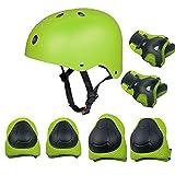 Set di protezioni per bambini, pattini a rotelle Skateboard BMX Scooter Ciclomotori protettivi (ginocchiere + gomitiera + elmetto da polso) Verde
