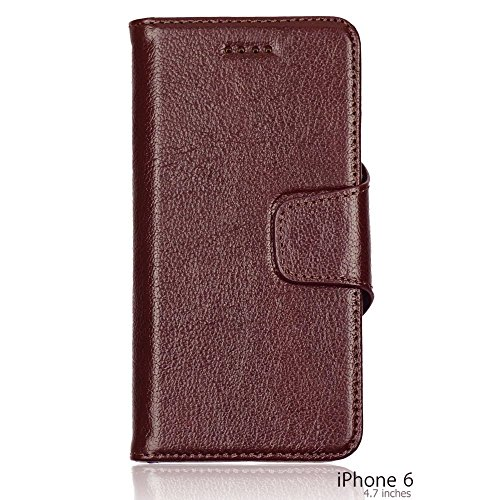 OBiDi - 100% Handmade Genuine Leather Flip Stand Case / Housse pour Apple iPhone 6 / 6S (4.7 inch)Smartphone - Brun avec 3 Film de Protection Brun