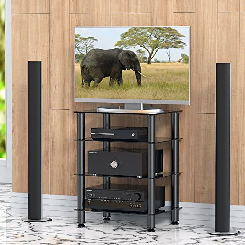 FITUEYES Black Glass HIFI TV Stand Media Component Shelf AS406001GB