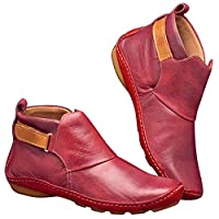 Lanceasy Leather Ankle Boots Autumn Vintage Women Shoes Comfortable Flat Heel Boots Short Boot
