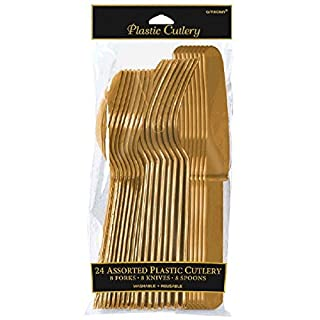 Amscan International Cutlery Assortment, Pack of 24, Gold