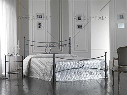 Letto matrimoniale in ferro colore nero grafite con pediera completo di rete ortopedica e materasso air memory 160 x 190 cm. - prodotto made in italy
